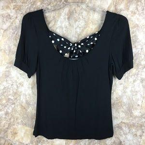 Ann Taylor Loft black top with polka dot bow